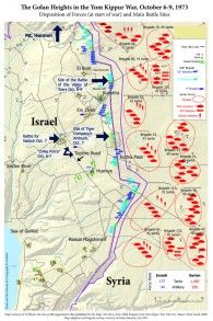 Map of the Golan Heights campaign in the Yom Kippur War in 'From Gettysburg to Golan.' (Courtesy of Barry Spielman)