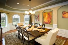 Dining Room with upholstered end chairs #mykch-dreamhome
