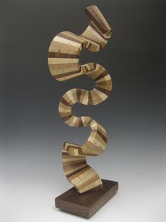 Modern wood abstract sculpture on Etsy, $300.00