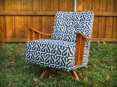 Retro Navy and White Swivel Rocker $650 - Farmers Branch http://furnishly.com/catalog/product/view/id/2711/s/retro-navy-and-white-swivel-rocker/