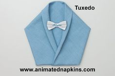 The Tuxedo is one of the easiest designs to fold. However, it takes a little time to neatly fold in the bottom and the two sides. Paper Napkin Folding, Paper Napkins, Smoking, Decorative Napkins, Tuxedo, Simple Designs, Tablescapes, Knots, Triangle