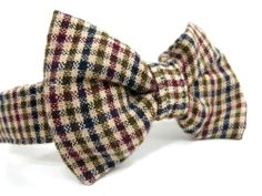 Dog Bow Tie Beige Plaid Bowtie Dog Accessories by LittleDogsCloset, $8.00