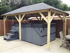swim spa under stable roof gazebo