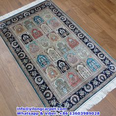 B08 2.5' x 4' Persian Rug, Silk Face and Silk Fringe, 324kpsi Handmade Rug Made By Yilong Carpet. Color: Red, Dark Blue, Blue, Light Blue, Light Green, Beige etc. Garden Design with Flower Pattern.