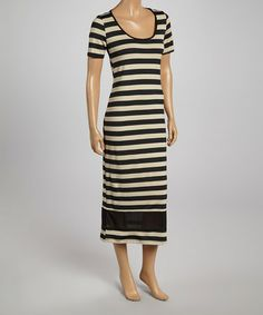 Another great find on #zulily! Black & Stone Stripe Scoop Neck Maxi Dress - Women by AA Studio #zulilyfinds