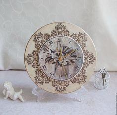 Купить Часы интерьерные, декупаж - бежевый, часы, часы декупаж, часы настенные, часы интерьерные