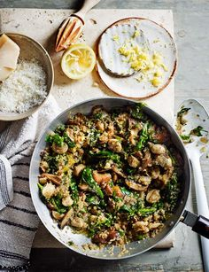 Mushroom and spinach quinoa 'risotto'. A gluten free one pot wonder, by Hemsley+Hemsley.