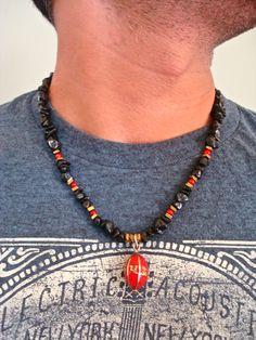 Om Prayer Necklace Semi Precious Black Jasper Hematites Red
