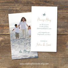 Mommy Calling Card Design Coastal Chic by CreativeFoxStudio