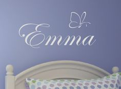 Girl Butterfly Wall Decal - Personalized Name Vinyl Wall Decal - Monogrammed Vinyl Lettering - Girls Room Decor. $18.00, via Etsy.