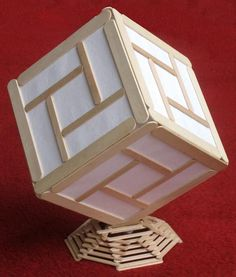 another Cube light made from popsicle sticks and paper