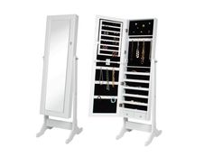 Jewelry Cabinet with Mirror Mirrored Armoire Storage with Stand Box White Organi #eHomeProducts