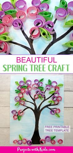 Make this gorgeous blossom spring tree craft with kids! Use easy paper quilling techniques and a free printable tree template. Make this gorgeous blossom spring tree craft with kids! Use easy paper quilling techniques and a free printable tree template. Spring Arts And Crafts, Spring Art Projects, Summer Crafts, Fall Crafts, Easter Crafts, Holiday Crafts, Spring Kids Craft, Tree Crafts, Flower Crafts
