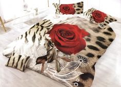 Lenjerie cu imprimeu 3D pentru pat dublu - Bumbac Satinat King Size Duvet Covers, King Bedding Sets, Duvet Cover Sets, Bed Sheets Online, 3d Rose, Floral Bedding, Satin, Throw Pillows, Blanket