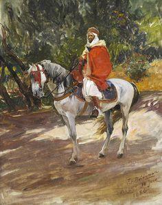 Frederick Arthur Bridgman (1847-1928) Cavalier rouge Huile sur  toile  signée en bas à droite ,  située et datée  alger 10 juin 1886 41,3 x 33 cm - Galerie Ary Jan