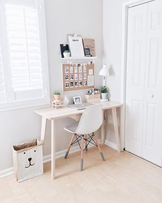 Pretty pastel workspace. A great idea from @polagram for how to create a beautiful workspace in a spare corner of your home // via @workspacegoals on Instagram