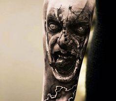 - Dunkle Damon Tattoo Designs Demon tattoo on the shoulder Zombie Tattoos, Evil Tattoos, Clown Tattoo, Wicked Tattoos, Creepy Tattoos, Demon Tattoo, Dark Tattoo, Tattoo On, Badass Tattoos