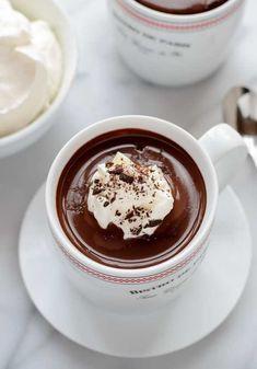 The best dark hot chocolate recipe! The best dark hot chocolate recipe! French Hot Chocolate Recipe, Hot Chocolate Bars, Hot Chocolate Recipes, Chocolate Smoothies, Chocolate Shakeology, Lindt Chocolate, Chocolate Mouse, Chocolate Crinkles, Chocolate Drizzle