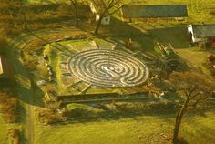 An aerial view of the Woodwynn Peace Park in Central Saanich BC (near Victoria on Vancouver Island).  http://peacesanctuarysculpturepark.org