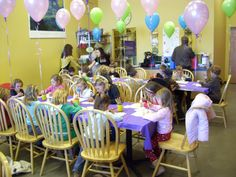 Pottery Painting Party - Balloons on chairs for decoration