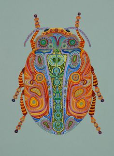 Known for her vibrantly colored works, artist Tina Close brings joy and spirit… Doodles Zentangles, Bug Art, Inspiration Art, Insect Art, School Art Projects, Bugs And Insects, Middle School Art, Art Lesson Plans, Art Classroom