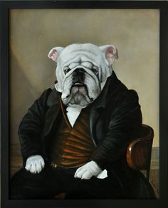 """Melinda Copper bulldog in a suit painting """"GROVER"""""""