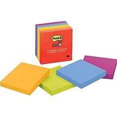 "Post-it® Super Sticky 3"" x 3"" Assorted Marrakesh Notes, 5 Pads/Pack"