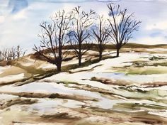 Large Expressionist Watercolor Painting Winter Landscape Field Trees PA Artist #Expressionism