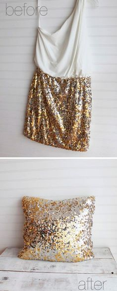 DIY: Sequin pillow made from 10 dollar dress