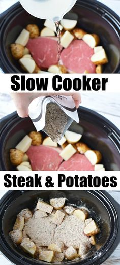 Crockpot Steak and Potatoes in a Snap! Crockpot steak and potatoes! Great dinner idea that cooks all day by itself! Tender and delicious every time. Slow cooker meals are the way to go. Crock Pot Potatoes, Crockpot Dishes, Crock Pot Cooking, Steak In The Crockpot, Crockpot Steak Recipes, Cooking Steak, Crockpot Recipes With Potatoes, Steak Meals, Slow Cooker Potatoes