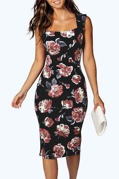 Random Floral Print Bodycon Dress