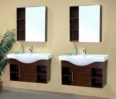 Bellaterra Home 81 Inch Double Wall Mount Style Sink Vanity Set   Base  Finish: Wood Walnut