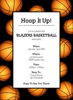 printable basketball print paper FREE Basketball Party Invitations