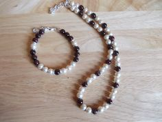 Blush shell pearl and garnet necklace and bracelet set £17.50