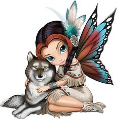 Jasmine Becket-Griffith Moonbeam, The Spirit Of Wisdom Wolf And Fairy Figurine