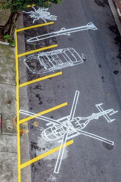 Stencil street art by Regina Silveira - São Paulo, Brazil. Wayfinding Signage, Signage Design, Urban Street Art, Urban Art, Graffiti, Floor Graphics, Decoration Originale, Environmental Graphics, Street Furniture