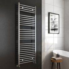 1600x600mm -25mm Tubes - Chrome Heated Straight Rail Ladder Towel Radiator - Natasha Premium
