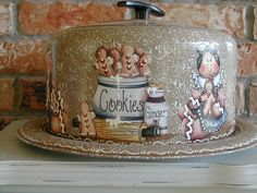 VINTAGE CAKE CARRIER with gingerbreads  1950's by CraftsByJoyice, $59.95