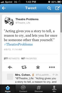 I miss my theatre family so much and I hate the time between shows it's empty and you just get even more of an empty feeling theatre is amazing to me and a place to get away from everything ❤️ Drama Theatre, Theatre Nerds, Music Theater, Broadway Theatre, Musicals Broadway, Acting Quotes, Acting Tips, E Motion, Theatre Problems