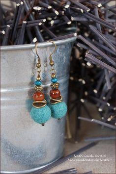 Boucles d'oreilles gypsy chic  laine feutrée par LesVendredisDeNath