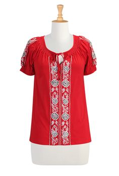 Embroidered Peasant Blouse Long Sleeve