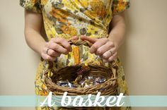 A basket makes for an interesting twist on the traditional candy carrier via @Julia Berry