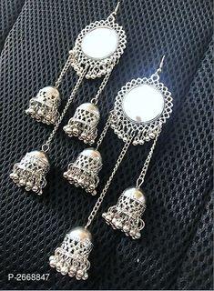 Alluring Oxidized Metal Earrings from Stf Store Indian Jewelry Earrings, Silver Jewellery Indian, Jewelry Design Earrings, Gold Earrings Designs, Ear Jewelry, Fashion Earrings, Fashion Jewelry, Women's Earrings, Silver Earrings
