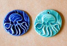 2 Handmade Ceramic Beads  Octopus Beads  Big and by beadfreaky