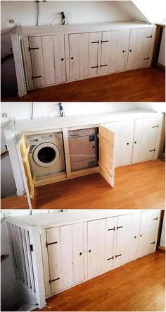 Making an area look weird with the washing machine placed there is not an issue for which there is no solution; we have presented the idea of creating Washing Machine Cabinet with the use of wooden pallets that can hide the machine as well as the dirty clothes.