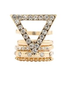 rhinestone triangle stackable rings - 5 pack