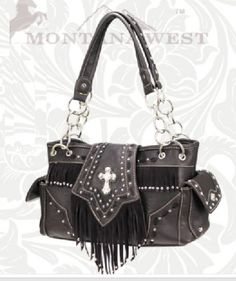 Coffee Rhinestone Cross Fringe Western Purse
