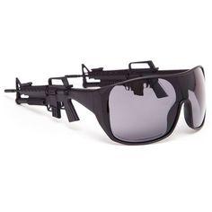 JEREMY SCOTT assault rifle sunglasses (295 AUD) ❤ liked on Polyvore featuring accessories, eyewear, sunglasses, jeremy scott glasses, wraparound sunglasses, rimmed glasses, wrap around sunglasses and jeremy scott sunglasses