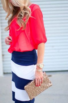 Gorgeous red haf sleeveless blouse with navy blue & white stripes cute long skirt and golden shining cute leather clutch and cute golden watch and braslate the best street style & fashion