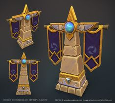 ArtStation - Heroes of the Storm Fan Art - Sky Temple Flag Post, Yili Tan Prop Design, Game Design, Zbrush, Game Textures, Hand Painted Textures, Game Props, 3d Modelle, Heroes Of The Storm, Modelos 3d